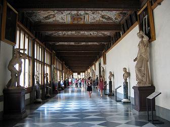Uffizi museum Florence inside the hallway