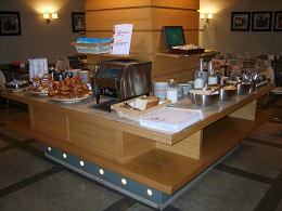 bread and fruit in breakfast room