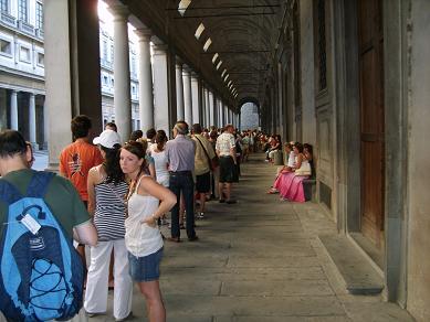 waiting in the uffizi gallery
